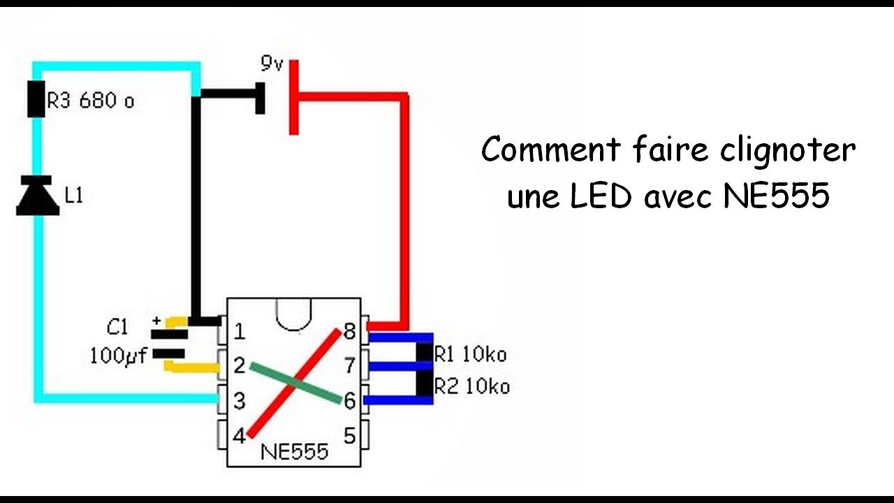 essat ne555 faire clignoter une led youtube. Black Bedroom Furniture Sets. Home Design Ideas