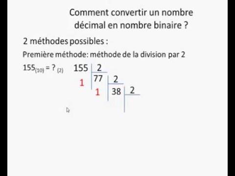 algorithme convertir un nombre decimal en binaire