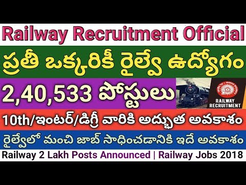 Railway 2,40,533 Posts Recruitment 2018 Official Announcement By Railway Minister | Job search