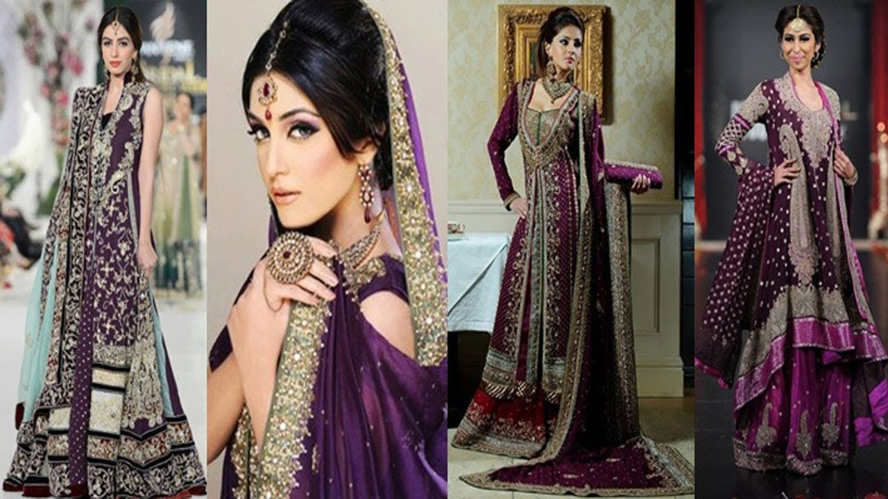 6a086c9faf7 Latest Beautiful Purple Dress Collection For Pakistani Brides 2017 ...