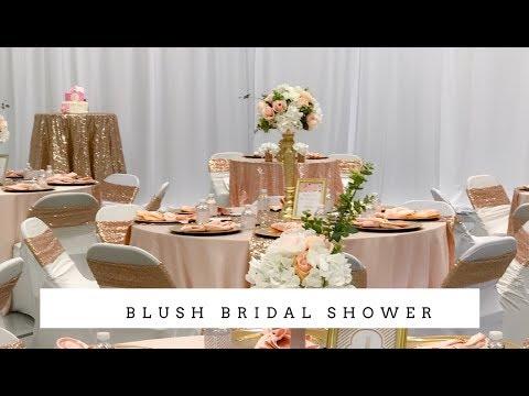 Elegant Bridal Shower Decor | Blush and Bling