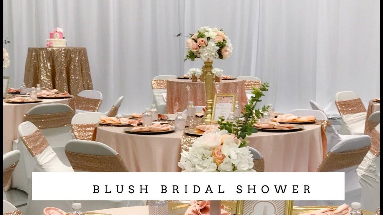 Elegant Bridal Shower Decor | Blush and Bling - YouTube