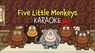 Five Little Monkeys (instrumental nursery rhyme - lyrics video for karaoke)