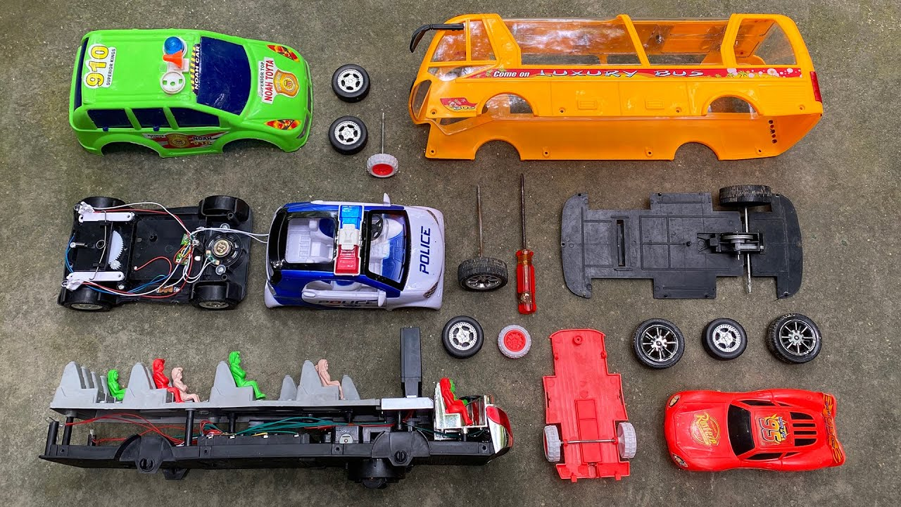 Satisfying Toy Vehicles Assemble, Luxury Coach Bus, Nano Police Car, Noah Car and Racing Car