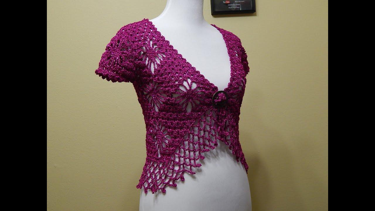 Bolero Crochet Talla Chica Bugambilia Parte 3 De 3 Youtube