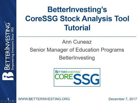 CoreSSG Stock Analysis Tool Tutorial - Updated - Better Investing