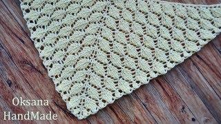 Красивый рельефный  узор для шали и бактуса  крючком. Crochet shawl pattern
