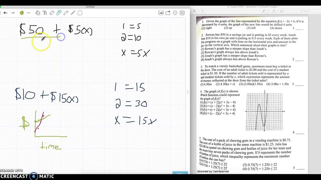 Algebra 1 - August 2015 - #1-5 - YouTube