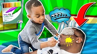 Kid Drawing On Daddy Face Prank | DJ