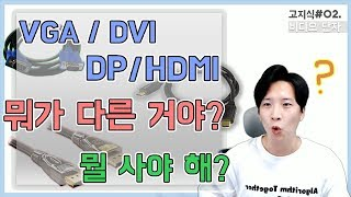 [高지식] (DVI/HDMI/DP) 비디오 케이블 5분…