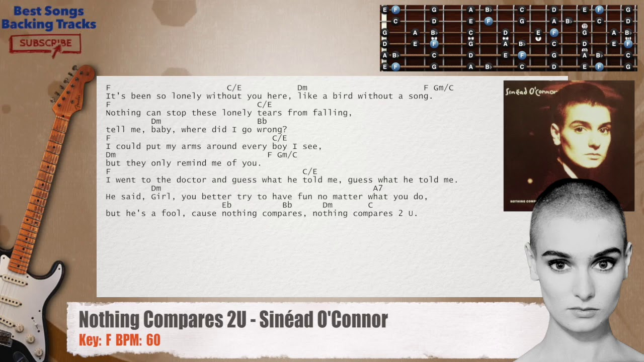 Nothing Compares To You Sinad Oconnor Guitar Backing Track With
