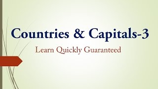 Best Trick Countries and Capitals :Part-3