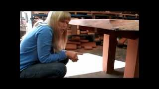 8 metre jarrah slab table with christian and fiona cole at christian cole furniture
