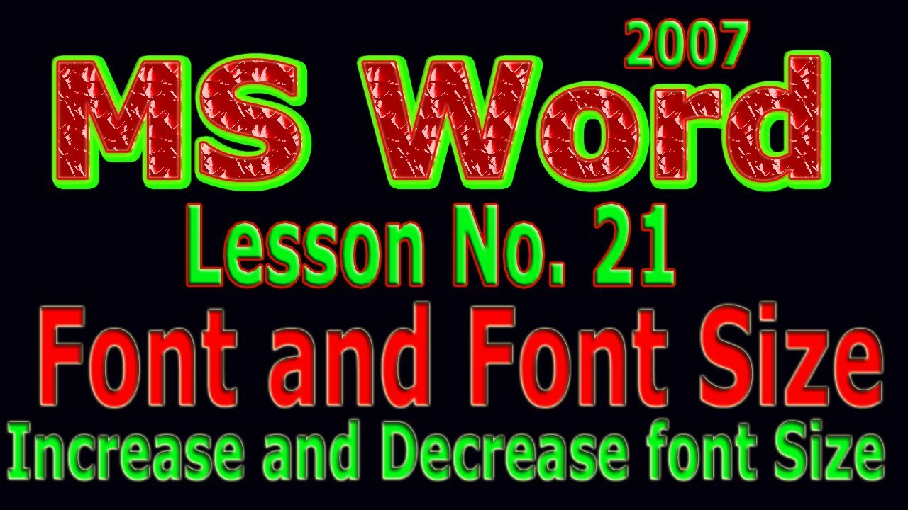 Microsoft Word 2007 Tutorial in urdu / Font style and Size Lesson # 21