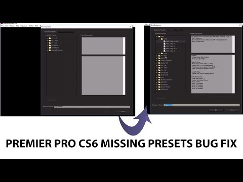 PREMIER PRO CS6 BUG FIX|| MISSING SEQUENCE PRESET
