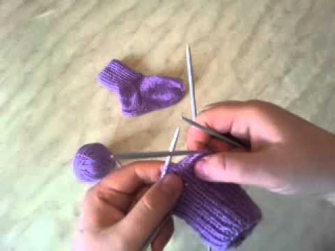 Видео вязание спицами носки