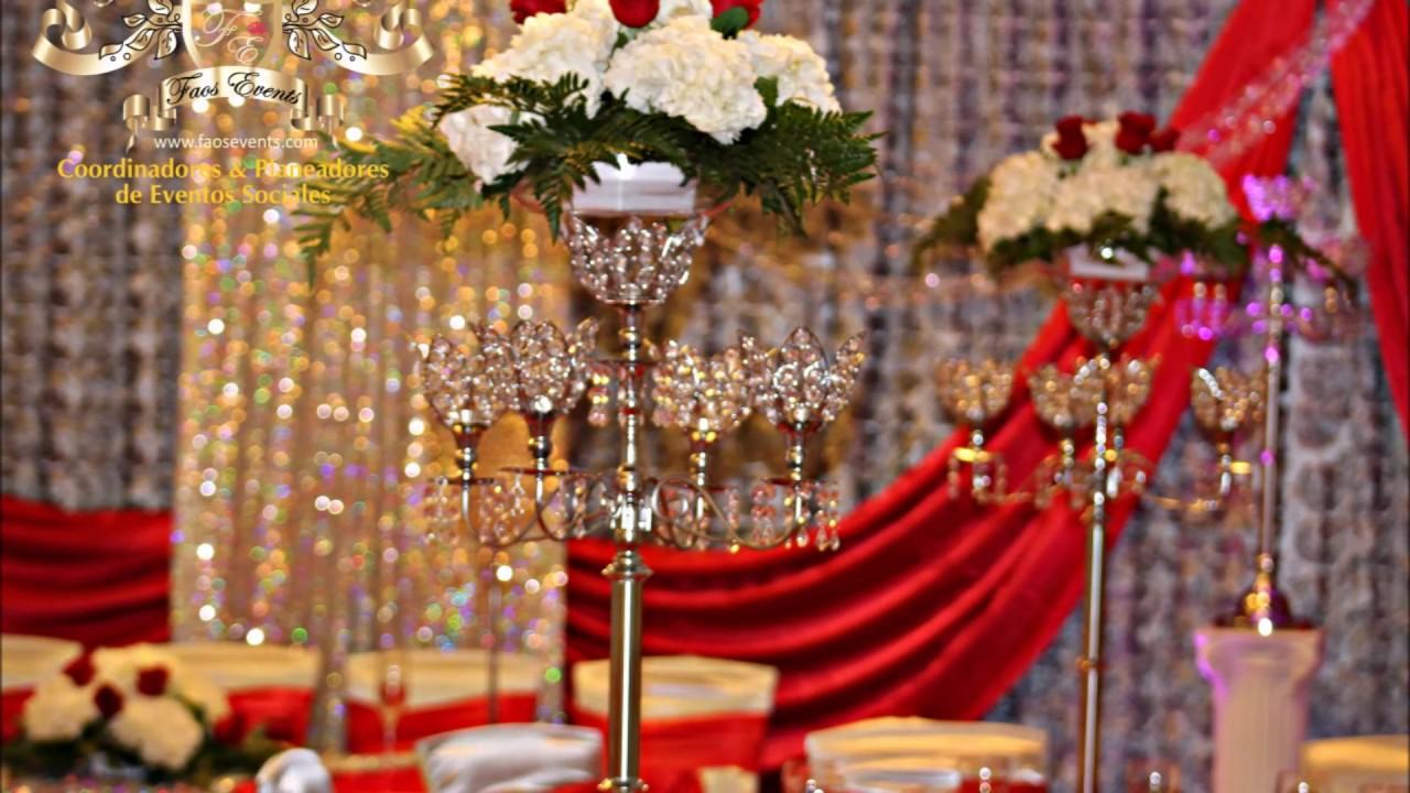 Faos event decoracion de boda color rojo y plata youtube - Decoracion para bodas de plata ...