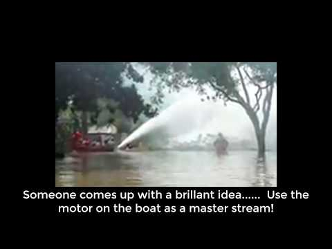 Firefighters Battle House Fire With A Outboard Jet Motor Houston Texas Hurricane Harvey