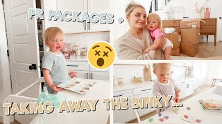 taking away the binky for real... (so hard) + unboxing packages after our trip!
