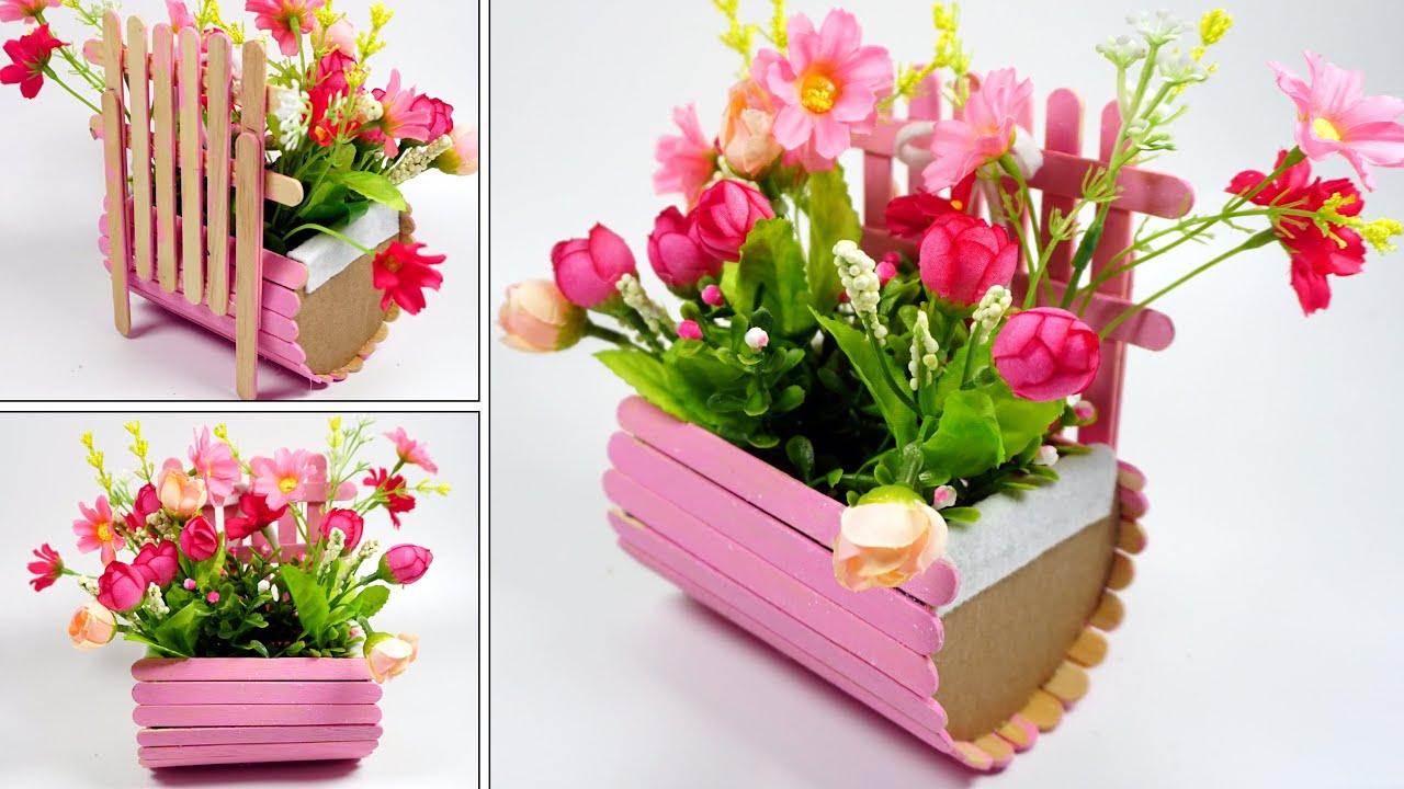 Cara Membuat Vas Bunga Dari Stik Es Krim Yang Mudah Youtube