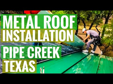 Standing Seam Metal Roofing - Evergreen Color - Pipe Creek Texas