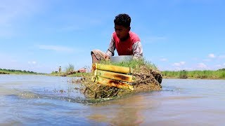 Primitive Style Cooking FISH & RICE in BAMBOO | Unique Ideas Cooking Lunch Recipe in Nature