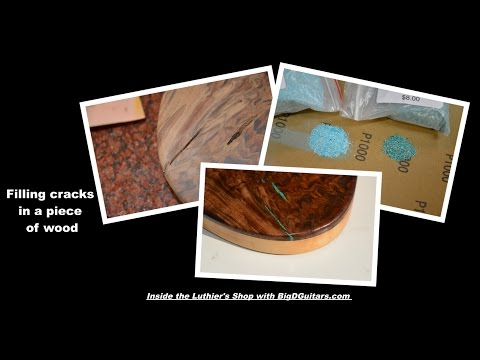 Filling Gaps in wood using Turquoise Inlay with Sand and Epoxy - BigDGuitars