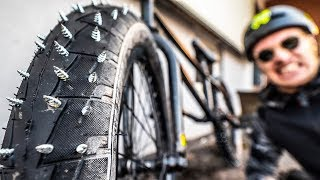DEADLY STUDDED TIRES ON MY BMX BIKE!