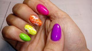 Летний, яркий дизайн ногтей. Работа на себе. Радуга на ногтях.