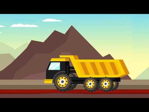 Excavator, Bulldozer, Tractor & Dump Truck Animation For Kids