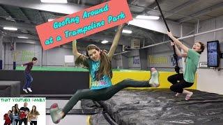 goofing around at a trampoline park