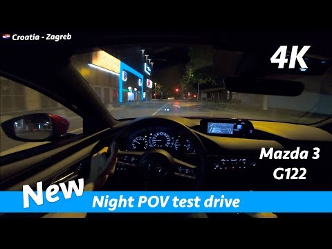 Mazda 3 hatchback 2019 - night POV test drive and review in 4K   LED lights