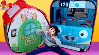 똘똘이 텐트로 벽에 마법문 만들기! 타요텐트 장난감 상상놀이 Tayo indoor playground LimeTube & Toy 라임튜브