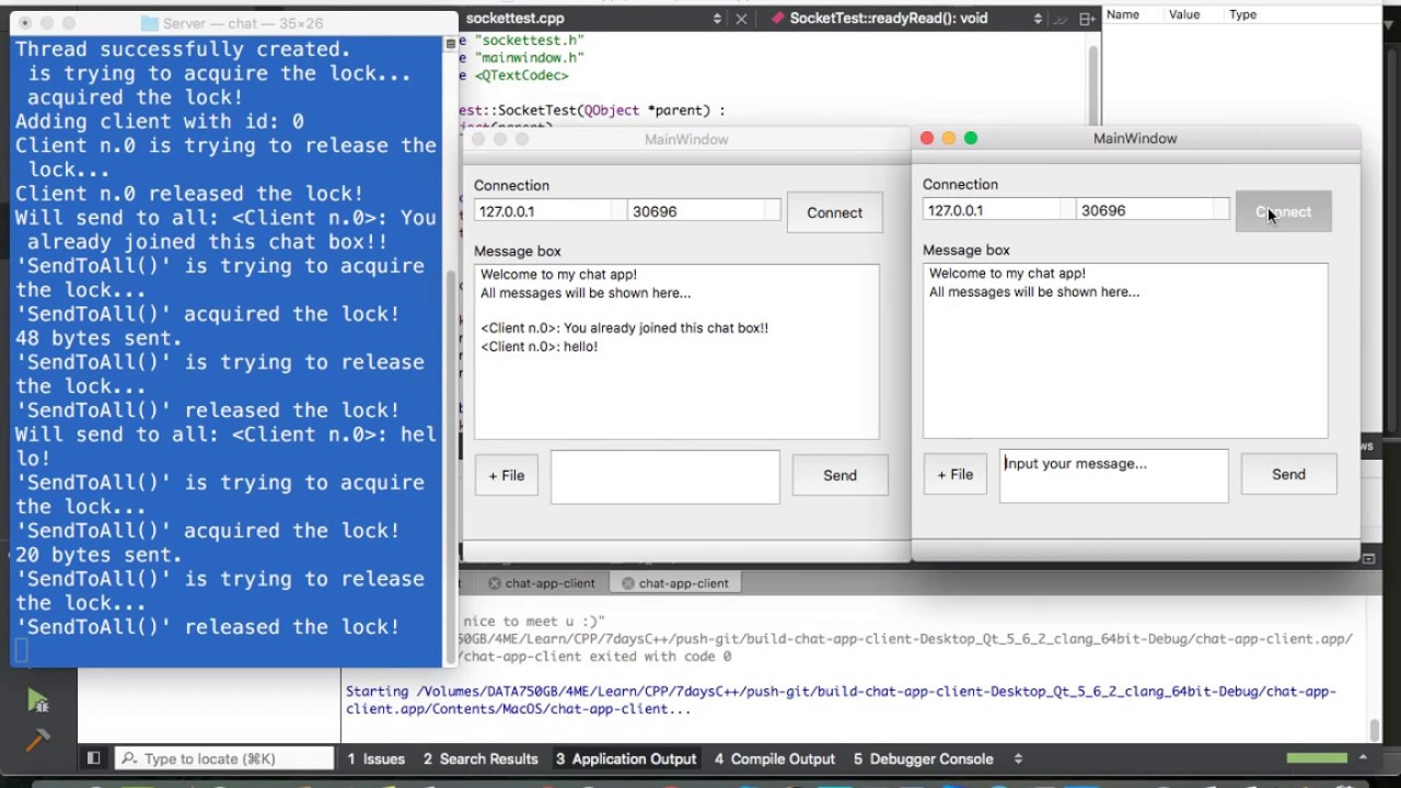 Demo app chat client - server using socket, multithread C++