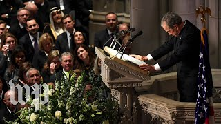 'The best dad': George W. Bush honors his father with tearful eulogy
