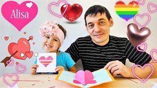 ВАЛЕНТИНКИ DIY открытки с сердечками // Алиса покажет 3 простые и красивые идеи