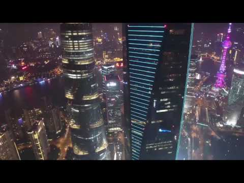 Fly over Lujiazui, Shanghai China