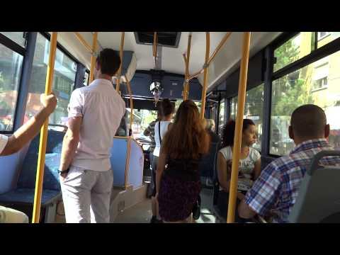 Ride on a local bus in Tirana, Albania