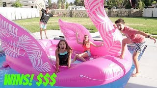 LAST TO LEAVE THE GIANT FLAMINGO WINS $$$! | Brock and Boston