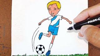 ⚽Como Desenhar GAROTO Futebol, CHUTANDO UMA BOLA, How to Draw