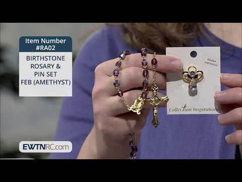 RA02_BIRTHSTONE ROSARY & PIN SET - FEB (AMETHYST)