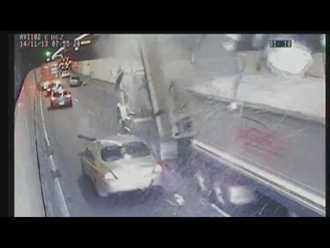 CCTV footage shows truck hitting Sydney's M5 tunnel