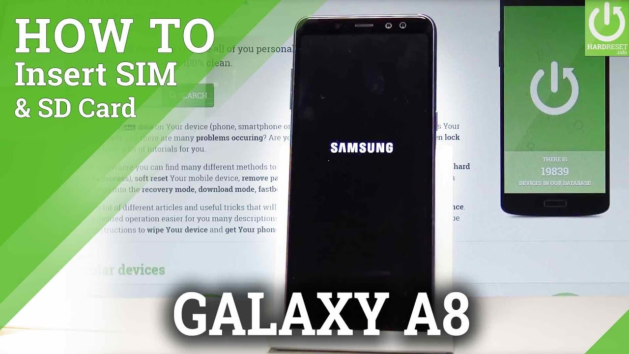 How to Insert SIM & SD Card in SAMSUNG Galaxy A8 (2018) |HardReset ...