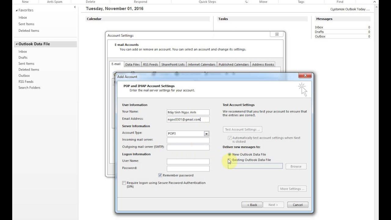 Add tai khoan Gmail vao trong Outlook