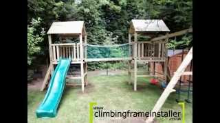 Play Crazy Double Tower Wooden Climbing Frame With Swing Set Install