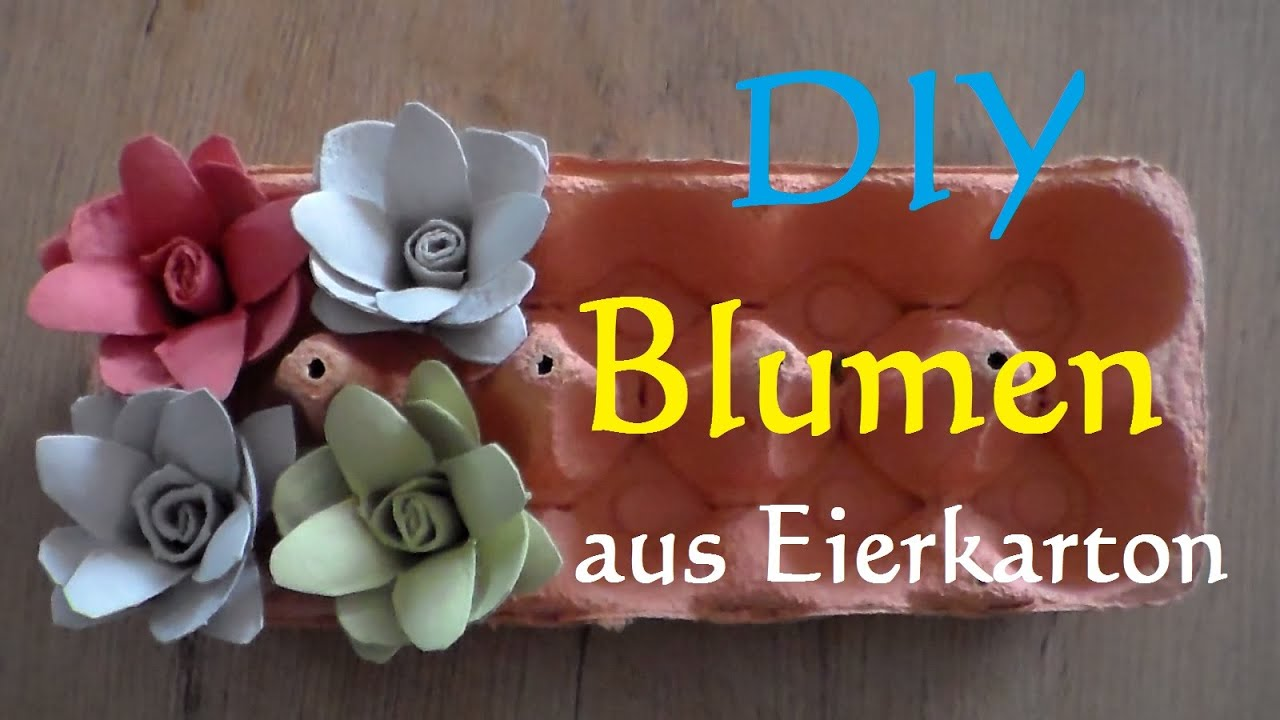 diy blumen aus eierkarton basteln rosen aus eierkarton selber machen make egg carton flowers. Black Bedroom Furniture Sets. Home Design Ideas