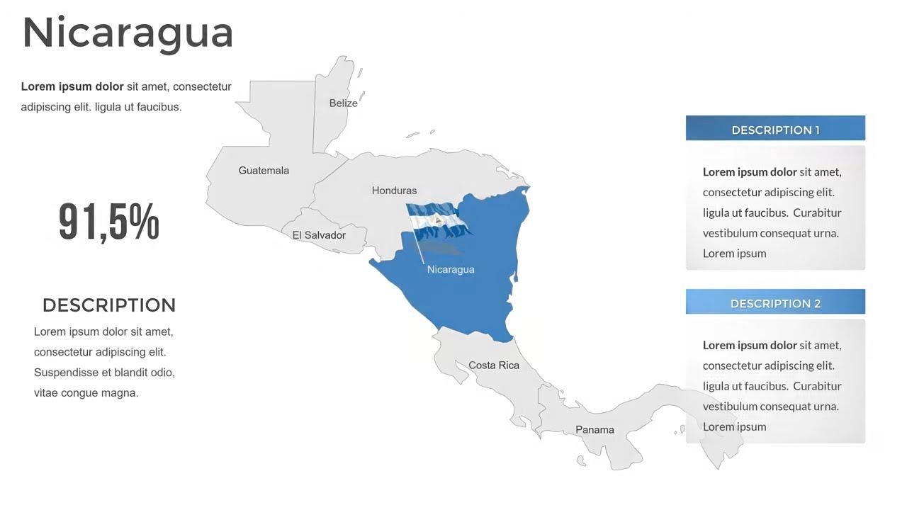 Nicaragua Maps - Nicaragua PowerPoint Maps Templates