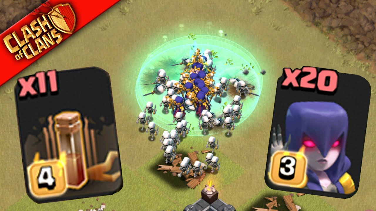Clash Clans MASS ATTACK! WITCHES QUAKE SPELLS TAKE DOWN