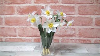 (ペーパーフラワー)水仙の花の作り方【DIY】(Paper Flower) How to make Narcissus flowers