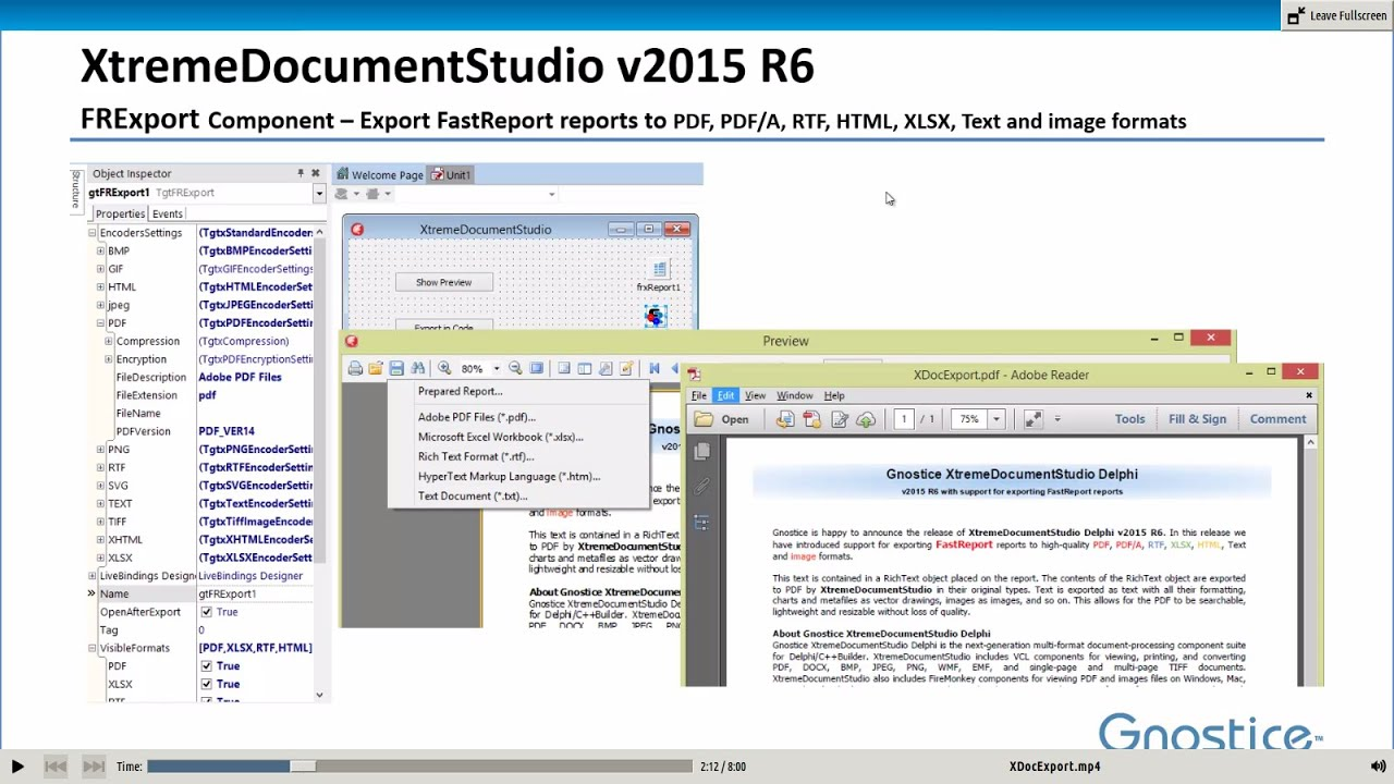 Export FastReport reports to PDF, RTF, plain text and ...